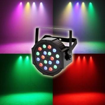 LICHIDARE STOC! PAR CU LEDURI PROFESIONAL,RGB COLOR,18 LED,DMX,ACTIVARE SUNET. foto