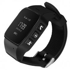 Resigilat! Ceas GPS Copii si Seniori iUni U100, Telefon incorporat, Pedometru, Notificari, Wi-fi, Negru - Smartwatch