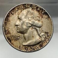 Moneda quarter dollar 25 cents centi 1956 litera D argint USA, America de Nord