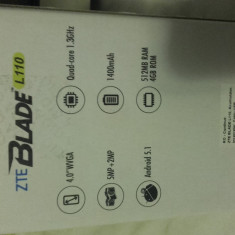 Telefon zte - Telefon mobil ZTE, Negru, 4GB, Neblocat, Quad core, 512 MB