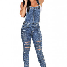 L512-444 Salopeta casual din denim prespalat cu model taiat - Salopeta dama, Marime: M/L, L