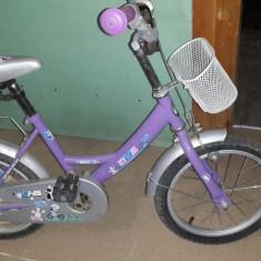 Bicicleta copii DHS 16 inch mov fetite, 12 inch, Numar viteze: 1