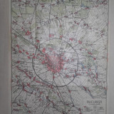 PLAN BUCURESTI CU IMPREJURIMILE, CCA 1935 - Carte veche