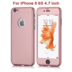 Husa iPhone 6 / 6s ROSE-GOLD 360 grade protectie fata-spate + Folie de sticla - Husa Telefon Apple, Roz, Carcasa