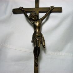Crucifix Iisus bronz, staniu, vintage