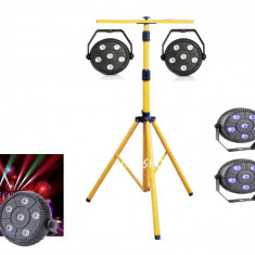 NOU! MEGA SET 4 PARI CU LEDURI SMD COLOR RGB SI TREPIED LUMINI PT.DISCO, PARTY... - Lumini club