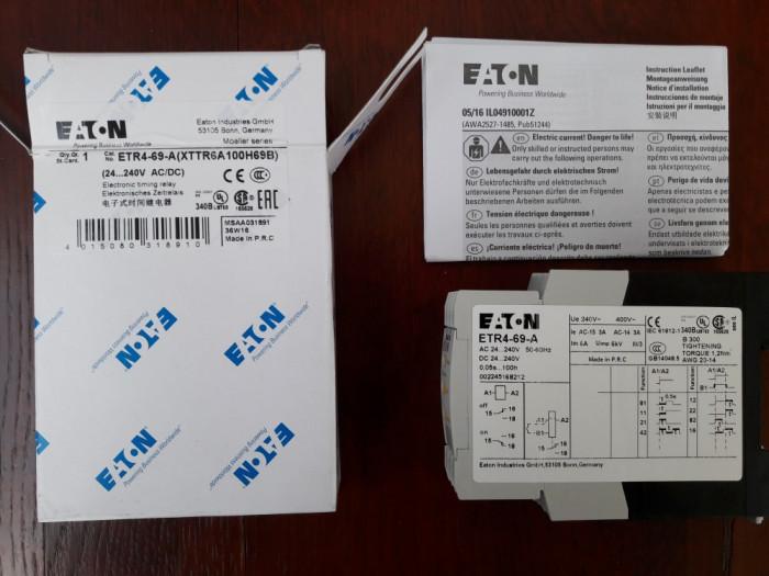 RELEU DE TIMP  EATON ETR4-69-A  , TEMPORIZATOR 0,05 s-100 h , 24-240V AC/DC
