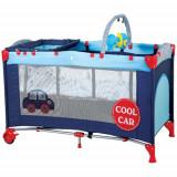 Patut Pliant cu 2 Nivele SleepWell Car - Patut pliant bebelusi BabyGo, 120x60cm, Albastru
