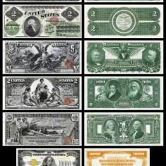 Bancnota Statele Unite ale Americii - set 11 reproduceri bancnote foarte rare - bancnota america, An: 1900