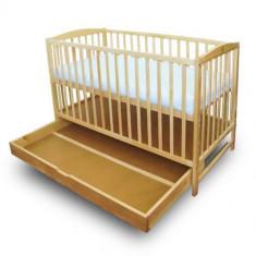 Patut cu Setar Natur - Patut lemn pentru bebelusi First Smile, 120x60cm, Maro
