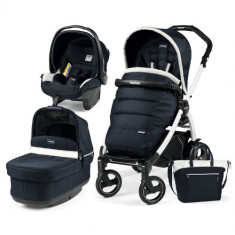 Carucior 3 in 1 Book Plus 51S Black White POP-UP Elite Luxe Blue - Carucior copii 2 in 1 Peg Perego