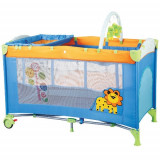 Patut Pliant cu 2 Nivele SleepWell Zoo - Patut pliant bebelusi BabyGo, 120x60cm, Multicolor
