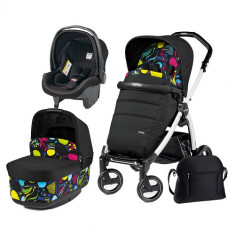Carucior 3 in 1 Book Plus S Black White POP-UP Elite Manri - Carucior copii 2 in 1 Peg Perego