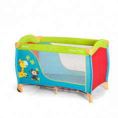 Pat Voiaj Sleep and Play Go Jungle Fun - Patut pliant bebelusi Hauck, 125X65cm, Multicolor