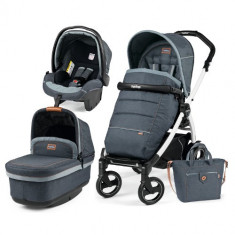 Carucior 3 in 1 Book Plus 51S Black White POP-UP Elite Blue Denim - Carucior copii 2 in 1 Peg Perego
