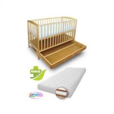 Patut cu Setar Natur + Saltea Coco Lux - Patut lemn pentru bebelusi First Smile, 120x60cm, Maro