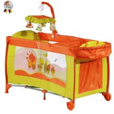Patut Pliant cu 2 Nivele si Mini-Carusel Sleeper Deluxe Portocaliu - Patut pliant bebelusi BabyGo, 120x60cm