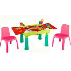 Masuta de Activitati cu 2 Scaunele cu Spatar Roz - Spatiu de joaca