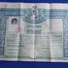 DIPLOMA DE BACALAUREAT * LICEUL DE FETE ''ELENA DOAMNA'' DIN CERNAUTI - 1940 - Diploma/Certificat