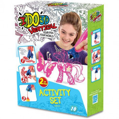 IDO3D - Set 2 Creioane 3D Roz si Alb - Roboti de jucarie