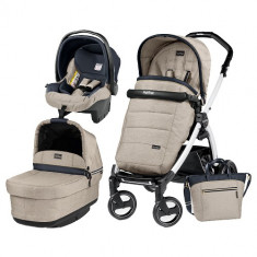 Carucior 3 in 1 Book Plus S Black White POP-UP Elite Luxe Beige - Carucior copii 2 in 1 Peg Perego