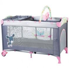 Patut Pliant cu 2 Nivele SleepWell Pink - Patut pliant bebelusi BabyGo, 120x60cm, Roz