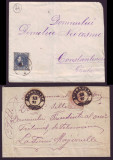 Romania 1881-1885 - Lot 2 circulatii postale francate Carol I Perle