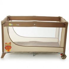 Patut Pliabil cu 1 Nivel Joy Brown - Patut pliant bebelusi Kinderkraft, 120x60cm, Maro