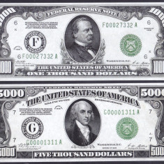 Bancnota Statele Unite ale Americii 1.000 + 5.000 Dolari 1928 - P426/427 - bancnota america