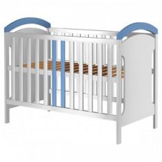 Patut din Lemn Hansell Alb Albastru - Patut lemn pentru bebelusi Hubners, 120x60cm