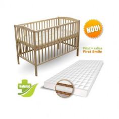 Patut Natur + Saltea Cocos Lux - Patut lemn pentru bebelusi First Smile, 120x60cm, Maro