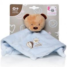 Plus Bebe Ursulet 26 cm cu Paturica si Zornaitoare Albastru - Jucarii plus