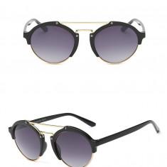 Ochelari Soare Fashion Dama - Retro Style, Lentile Rotunde, Polarizati, -Negru, Femei