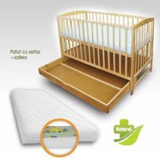 Patut cu Setar Natur + Saltea Clasic - Patut lemn pentru bebelusi First Smile, 120x60cm, Maro