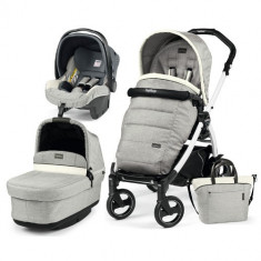 Carucior 3 in 1 Book Plus 51S Black White POP-UP Elite Luxe Opal - Carucior copii 2 in 1 Peg Perego