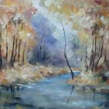 Tablou ulei (25/30cm- TOAMNĂ - Pictor roman, Flori, Impresionism