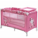 Patut Pliant Nanny 2 Nivele 2016 Pink Kitten - Patut pliant bebelusi, 120x60cm, Roz