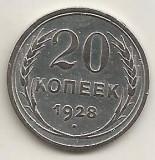 RUSIA URSS  20 COPEICI  KOPEEK  1928   ARGINT 500 / 1000 [2] VF ,  in cartonas, Europa