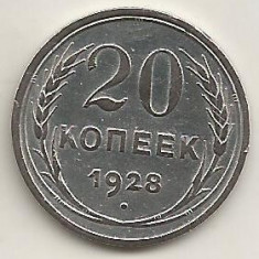 RUSIA URSS 20 COPEICI KOPEICI KOPEEK 1928 Argint [2] livrare in cartonas, Europa