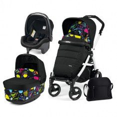 Carucior 3 in 1 Book Plus 51S Black White POP-UP Elite Manri - Carucior copii 2 in 1 Peg Perego