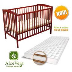 Patut Colour + Saltea Aloe Vera Cires - Patut lemn pentru bebelusi First Smile, 120x60cm, Maro