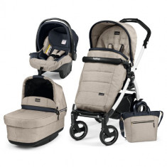 Carucior 3 in 1 Book Plus 51S Black White POP-UP Elite Luxe Beige - Carucior copii 2 in 1 Peg Perego