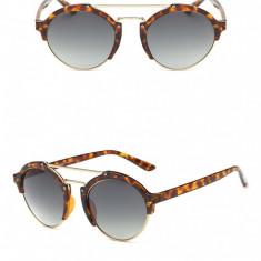 Ochelari Soare Fashion Dama - Retro Style, Lentile Rotunde, Polarizati-Leopard, Femei