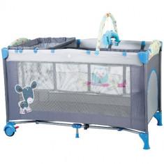 Patut Pliant cu 2 Nivele SleepWell Blue - Patut pliant bebelusi BabyGo, 120x60cm, Albastru