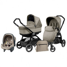 Carucior 3 in 1 Book Plus S Black POP-UP Cream - Carucior copii 2 in 1 Peg Perego