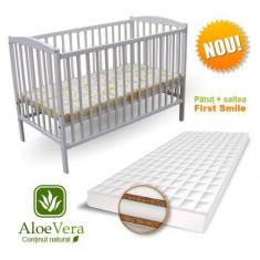 Patut Colour + Saltea Aloe Vera Alb - Patut lemn pentru bebelusi First Smile, 120x60cm
