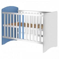 Patut din Lemn Anne Alb Albastru - Patut lemn pentru bebelusi, 120x60cm