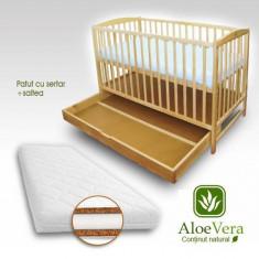Patut cu Setar Natur + Saltea Aloe Vera - Patut lemn pentru bebelusi First Smile, 120x60cm, Maro