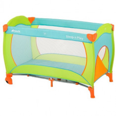Pat Voiaj Sleep and Play Go Plus Multicolor Sun - Patut pliant bebelusi Hauck, 125X65cm