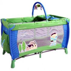 Patut Woozy Albastru-Verde - Patut pliant bebelusi DHS Baby, 120x60cm
